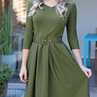 Solid Self Belted Pleated Casual Dress