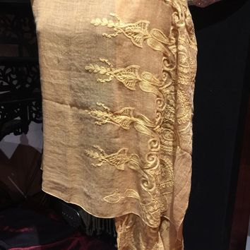 Vintage Styled Sheer mustard yellow flower embroidered wrap Shawl