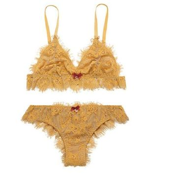 Thick Long Hot Deal Hot Sale Bra Set Lace Permeable With Steel Wire Sexy Pants Underwear False Eyelashes [9779875139]
