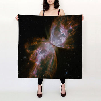 Nebula Silk Scarf, Space Stellar Butterfly Scarf, Fashion Accessories, Gift for Her