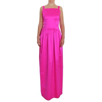 Dolce & Gabbana Pink Silk Long Sheath Ball Gown Dress