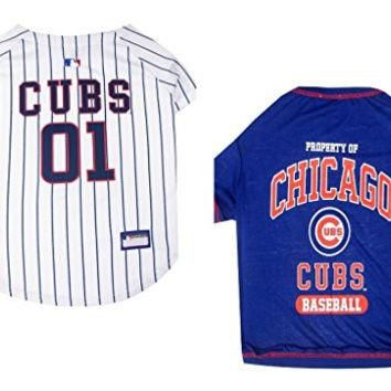 MLB Chicago Cubs Dog Jersey and T-Shirt Two Piece Bundle (Large)