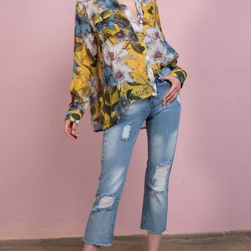 Tropical floral print woven button down loose fit shirt