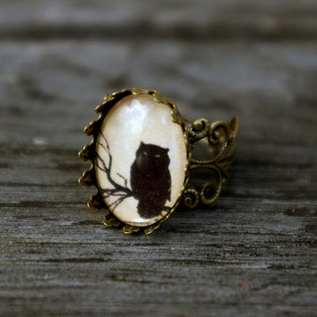 Owl - vintage style ring