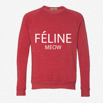 celine paris feline m fleece crewneck sweatshirt