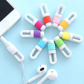 100pcs/lot USB Cable Data Line Earphone Line Protector Cover Saver Liberator For iPhone Links Headphone Cord  free shipping