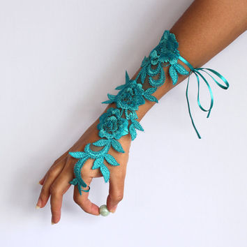 Bridal Wrist Corsage in Pool Blue Turquoise Applique Lace. Handmade