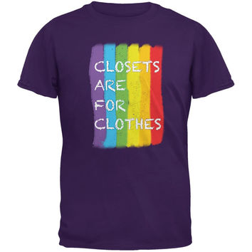 Gay Pride LGBT Closets Are For Clothes Purple Adult T-Shirt
