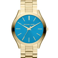 Michael Kors Mid-Size Golden/Blue Stainless Steel Runway Three-Hand Watch