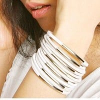 Product - Fashion White Multi Leather Cuff Bracelet by Fashion Collection · Storenvy