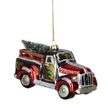 MDIGMS9 5.25' Multi-Color Glittered Glass Truck with Tree Christmas Ornament