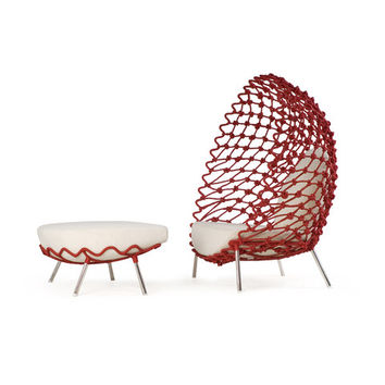 Dragnet Lounge Armchair with Ottoman - Garden armchairs by Kenneth Cobonpue | Architonic