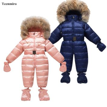 Winter Children Snow Coveralls Baby Snowsuit Real Fur Collar Infant Toddler Snowsuits Boys Girls Duck Down Jumper Gloves Socks