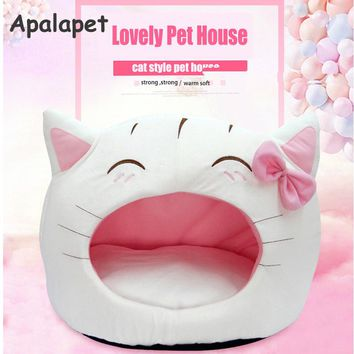 Cute Cat Bow House Dog Bed Pet Bed Warm Soft Dogs Kennel Dog House Pet Sleeping Bag Cat Bed Cat House Cama Perro