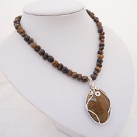 Tiger Eye Necklace With Wire Wrapped Pendant, Wire Wrapped Necklace,Gemstone Necklace, Brown Necklace, UK Seller