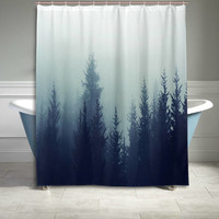 Mystic Forest Trees Shower Curtain Rainy Foggy Gray Scene Print Bathroom Decor Home Decor