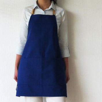 Blue Canvas Full Apron for Men or Women, Detachable leather straps, Machine washable, Garden, Gardener, Cook, Kitchen, Crafter, Artist Apron