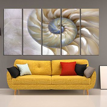 Sea Shell wall art, seashell canvas print 5 pieces, seascape wall decor, multipanell wall decal art print qn128