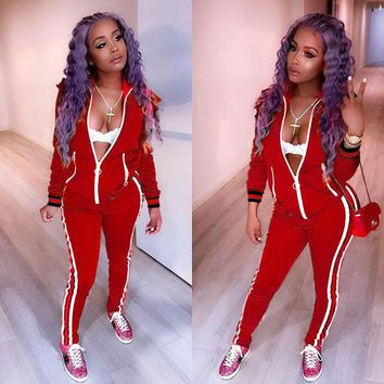 Red Tracksuit with Contrast Bands