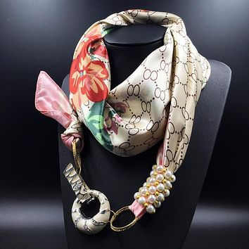 Women Vintage Crystal Jewelry Pendants Flower Printed Silk Scarf Pearl Brads Winter Warm Scarf More Designs Scarf Bandana Poncho
