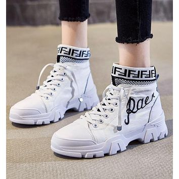 FENDI Newest Popular Women Casual Boots Shoes High Help Martin Boots Shoes White