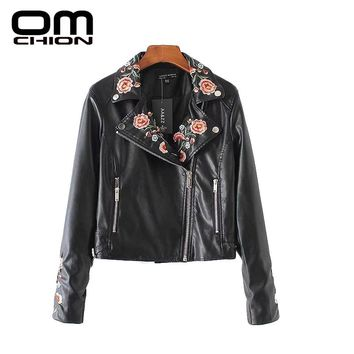 PU Leather Long Sleeve Turn-down Collar Women Coat Floarl Embroidery Pockets Faux Outwear