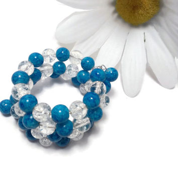 Blue Crystal Glass Wrap Bracelet, Memory wire, Stacking, Layering, Crackle, High Quality Gift for her, Charity
