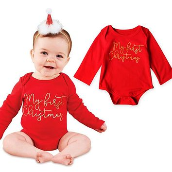 My First Christmas Long Sleeve Newborn Baby Kids Xmas My First Christmas Bodysuit Jumpsuit Outfits Set