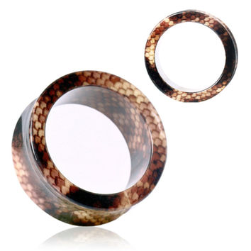 UV Acrylic Brown Snake Skin Flesh Tunnel