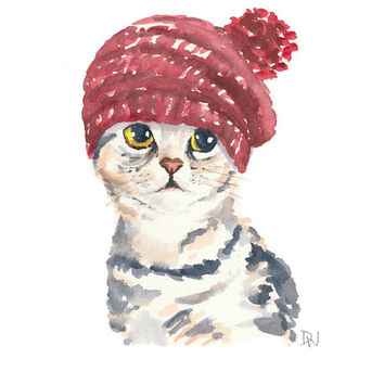 Cat Watercolor Original Painting - Knit Hat, Silver Tabby, Cat Illustration, 8x10 Painting