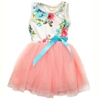 Fashion Little Girls Baby Kids Flower Bow Top Tutu Dress Skirt