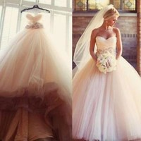 Sleeveless Blush Ball Gown Weddng Dresses Bridal Dress Custom Size 2 4 6 8 10 12