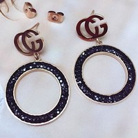GUCCI fashion temperament letter ear nail clay diamond ring pendant earrings female