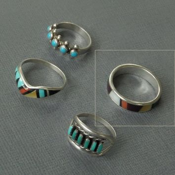 Vintage NATIVE American Indian RING Sterling Silver ZUNI Band Inlay Mosaic Gemstone Sz 10 Multistone Turquoise Jewelry Colorful Rings