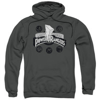 POWER RANGERS/POWER COINS-ADULT PULL-OVER HOODIE-CHARCOAL
