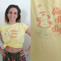 Yellow Strawberry Shortcake Cotton T Shirt // Gimme Some Sugar 1990s Adult T