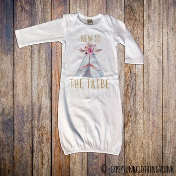 New To The Tribe Boho Baby Newborn Gown