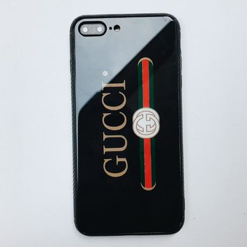 GUCCI Stylish Chic Simple Letter Print For Iphone 7plus X iPhone 6s/8plus Glass Iphone Shell Case Black I12067-1
