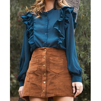 corduroy button down mini skirt with pockets - brown
