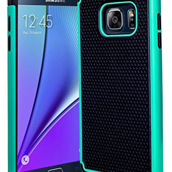 Galaxy Note 5 Case, Hybrid  Black Cover with Teal Shock Armor Design Case