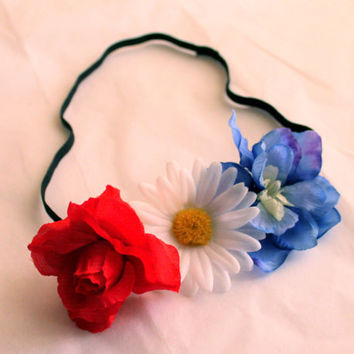 Red White and Blue Flower Headband, July 4th Headpiece, Cute Adjustable Flower Headband, 4th of July Accessories, Cheap Flower Crown