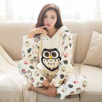 Autumn and winter thickening flannel pajama sets sleepwear female cartoon pajamas lounge coral fleece sleepwear pullover
