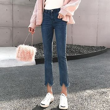 Women Fashion High Waist Show Thin Jeans Flares Pants Trousers