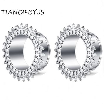 TIANCIFBYJS Flesh Tunnel Ear Expander Body Piercing Brass Sun Flower Snake Hollow Design Earring Stretcher 00g Punk Jewelry