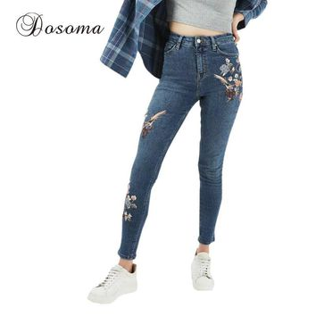 Woman Femme Skinny Pants Women Jeans Slim Floral Embroidered Jeans Women's Fashion Denim High Waist Flower Embroidery Jeans