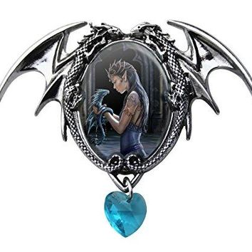Anne Stokes Cameo Necklace Double Winged Dragon Blue Heart Gothic