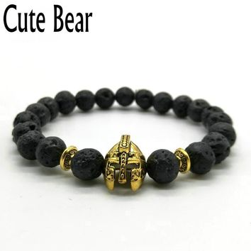 Antique Gold Roman Knight Spartan Warrior Gladiator Helmet Bracelet Men Black Matte Lava Stone Bead Bracelets For Men Jewelry