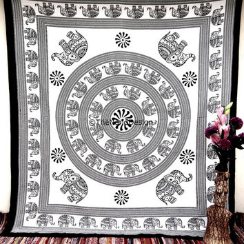 Hippie Boho Wall Tapestries, Elephant  Mandala Tapestry Wall Hanging, Indian Bedspread Bohemian Room Décor, Dorm Bedding Tapestry Art