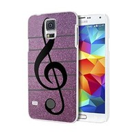 Purple Glitter Musical Note Custom Case for Samsung Galaxy S3/ S4/ S5 (white samsung galaxy S5)