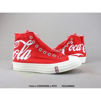 [READY STOCK] Coca x CONVERSE x KITH red High-top canvas shoes Unisex